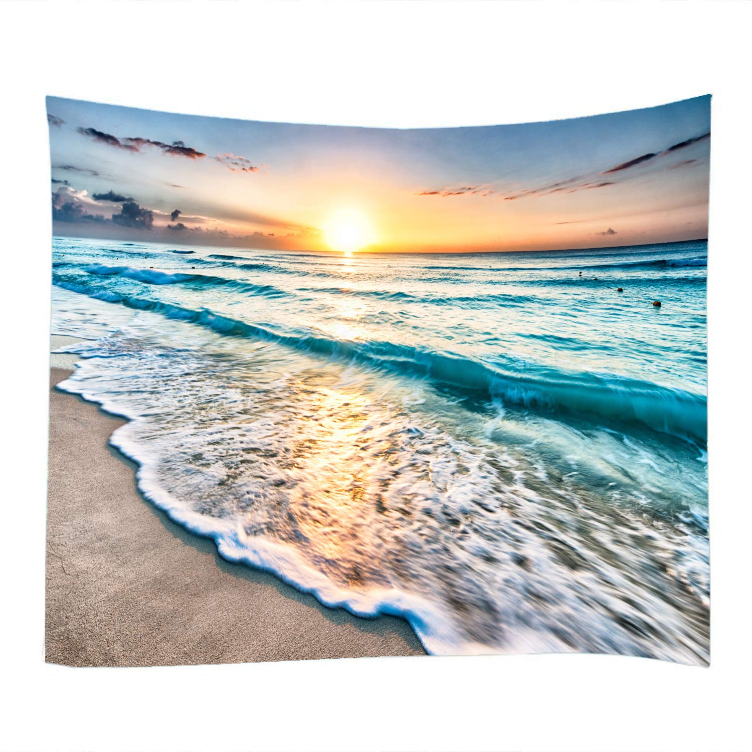 Sea Water Dusk Beach Sunset Print Decorative Throw Fabric Wall Tapestry Hanging Art Decor for Living Room and Bedroom 79x59 Inches