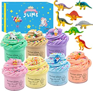 Upgrade 7 Pack Dinosaur Slime Kits,Scented Butter Slimes with Cute Unicorn, Coffee Cup,Ice Cream Charms Ect.Super Soft Stretchy and Non-Sticky Slime for Boys and Girls