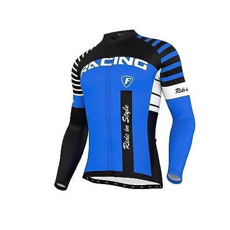 26fdd9cb62 FDX Mens Blaze Cycling Jersey Full Sleeve Thermal Fleece Team Racing  Cycling Top (Blue,