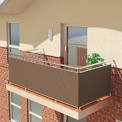 Imagen dePantalla de balcón premium de Balconio, x cm, impermeable, pantalla para balcón para tener privacidad, con cierre de cuerda incluido, poliéster, marrón, 500 x 85 cm