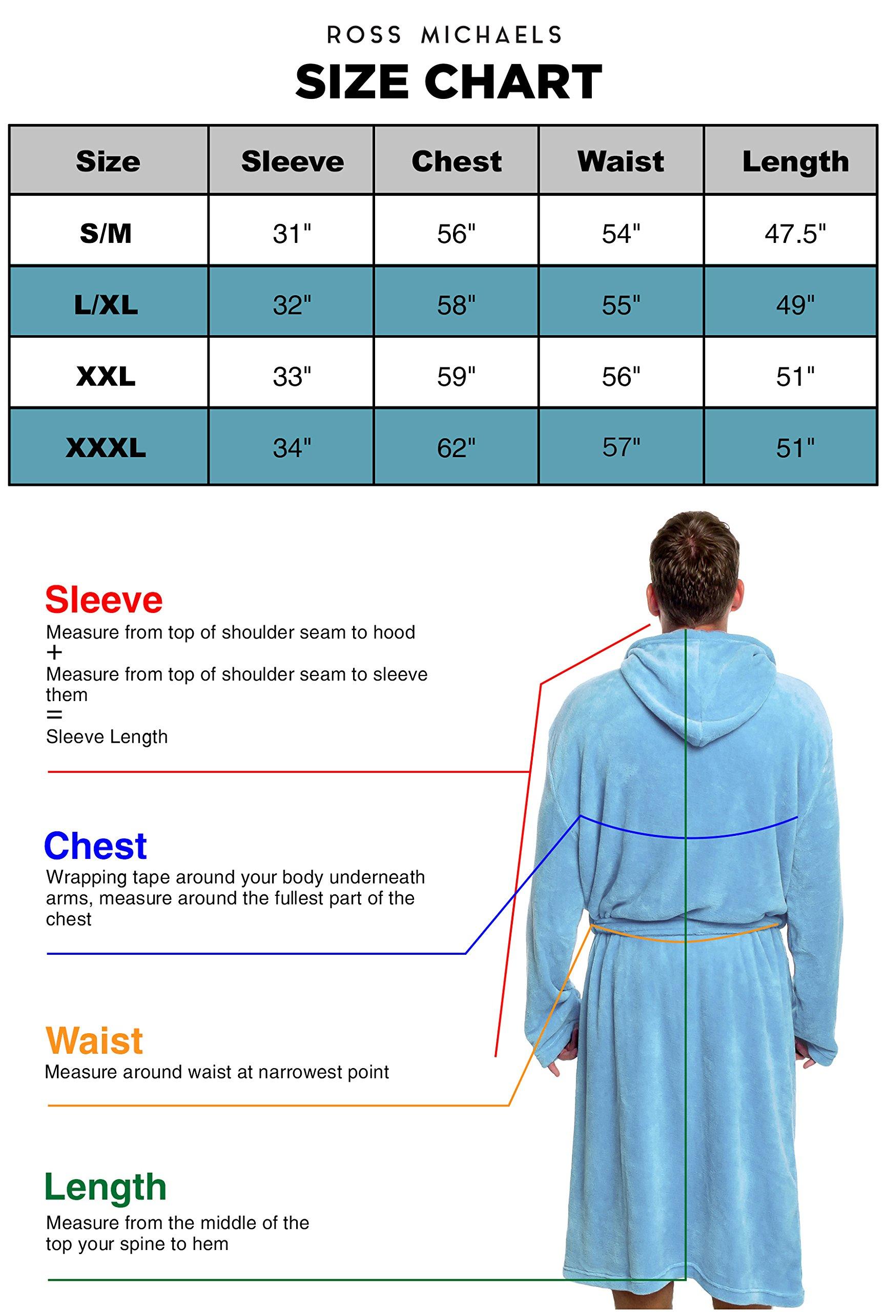 Ross Michaels Mens Hooded Robe - Plush Shawl Kimono Bathrobe (Black, XXL) by Ross Michaels (Image #6)