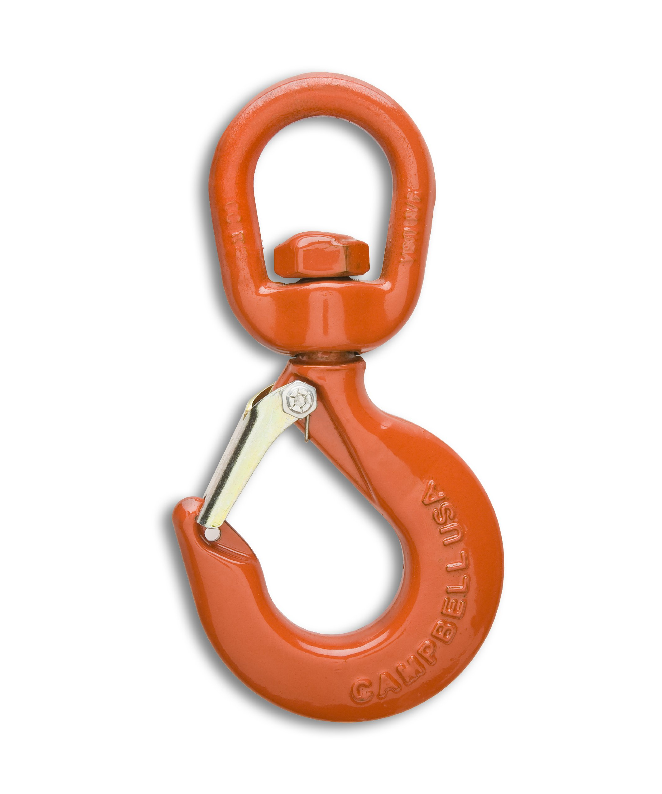 Campbell 3952515IL Drop-Forged Alloy Steel Swivel Hoist Hook with Integrated Latch, Painted Orange, 5 Trade, 3 ton Working Load Limit