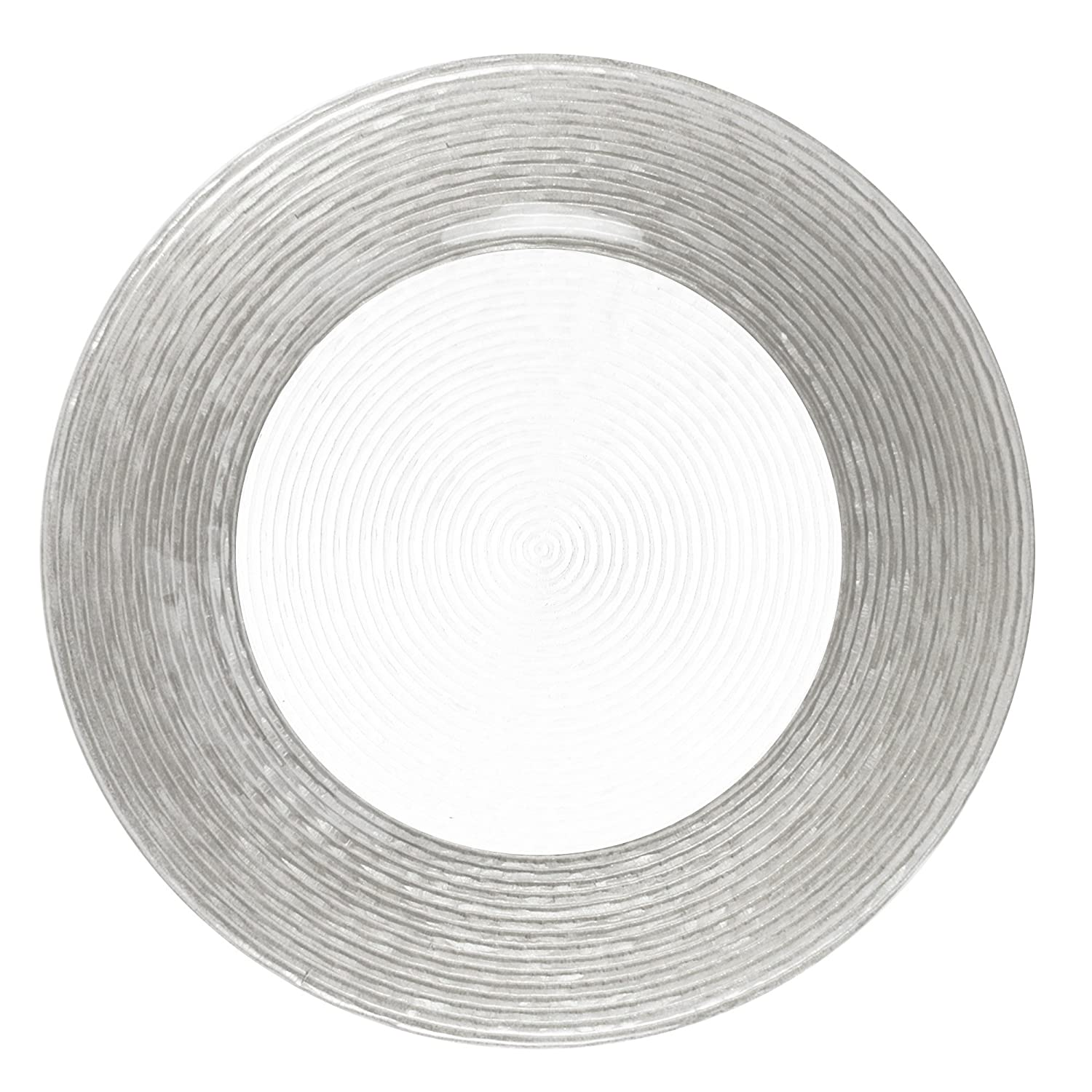 ChargeIt by Jay Circus Silver Border Glass Charger Plate Jay Imports 1470275