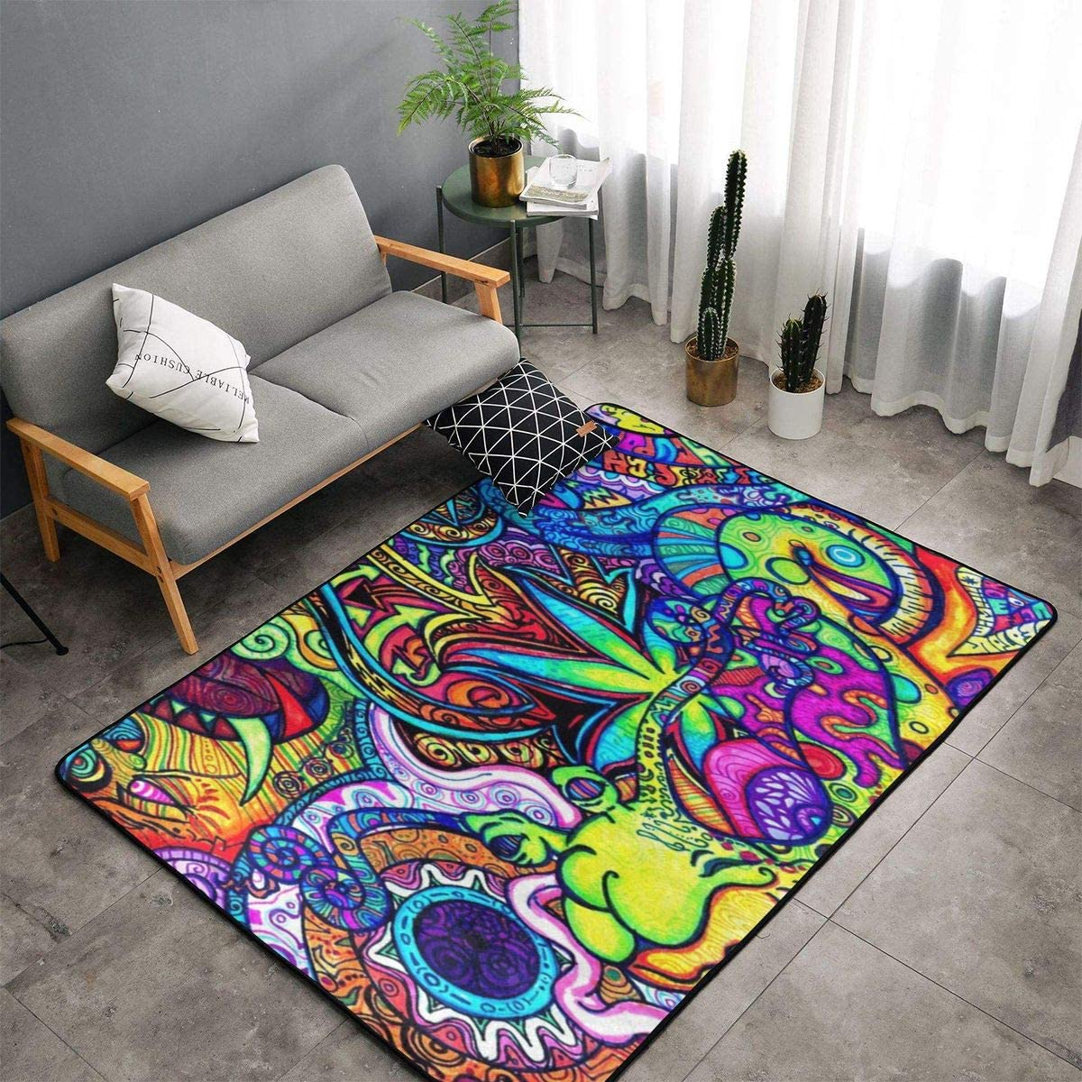 Bedroom Livingroom Sitting-Room Big Size Kitchen Rugs Home Decor - Cool Weed Floral Floor Mat Doormats Fast Dry Toilet Bath Rug Exercise Mat Throw Rugs Carpet