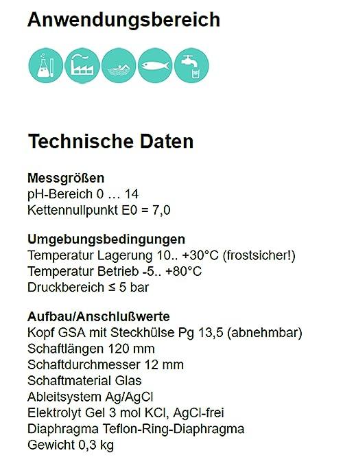 pH Elektrode / Sensor mit Teflon-Ring-Diaphragma, Gel-Füllung ...