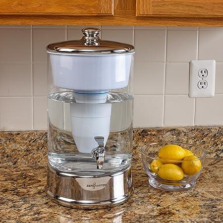 ZeroWater 14401 C-DS 2,5 galón bebidas dispensador de agua, 100, color cromo y transparente: Amazon.es: Hogar
