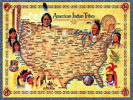Indian Tribes In Us Map.Amazon Com American Indian Tribes United States Map Art Print