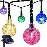 DecorNova 20 Feet 30-LED Outdoor Fairy Lights Solar Powered Globe String Lights,Multi Colors