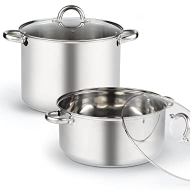 Cook N Home 4-Piece 13 Quart High and Wide Low Stockpots with Lids, Stainless Steel