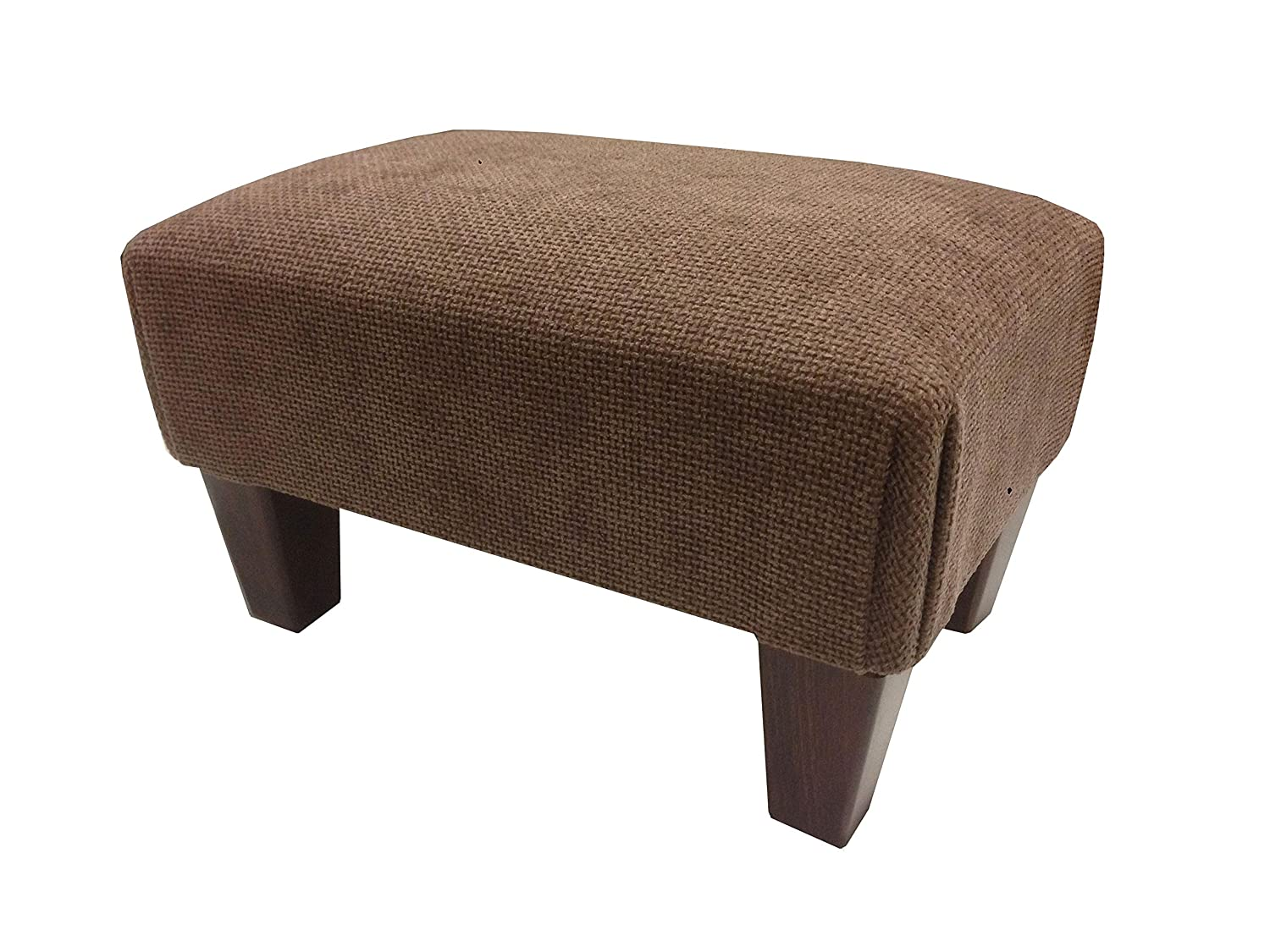 Luxury upholstered footstool in Hopsack brown chenille and mahogany wooden legs...If you see any other fabric you like in my other items including jumbo cords and chenilles please ask as we can make this foot stool pouffe in most fabrics. j&m furnishings