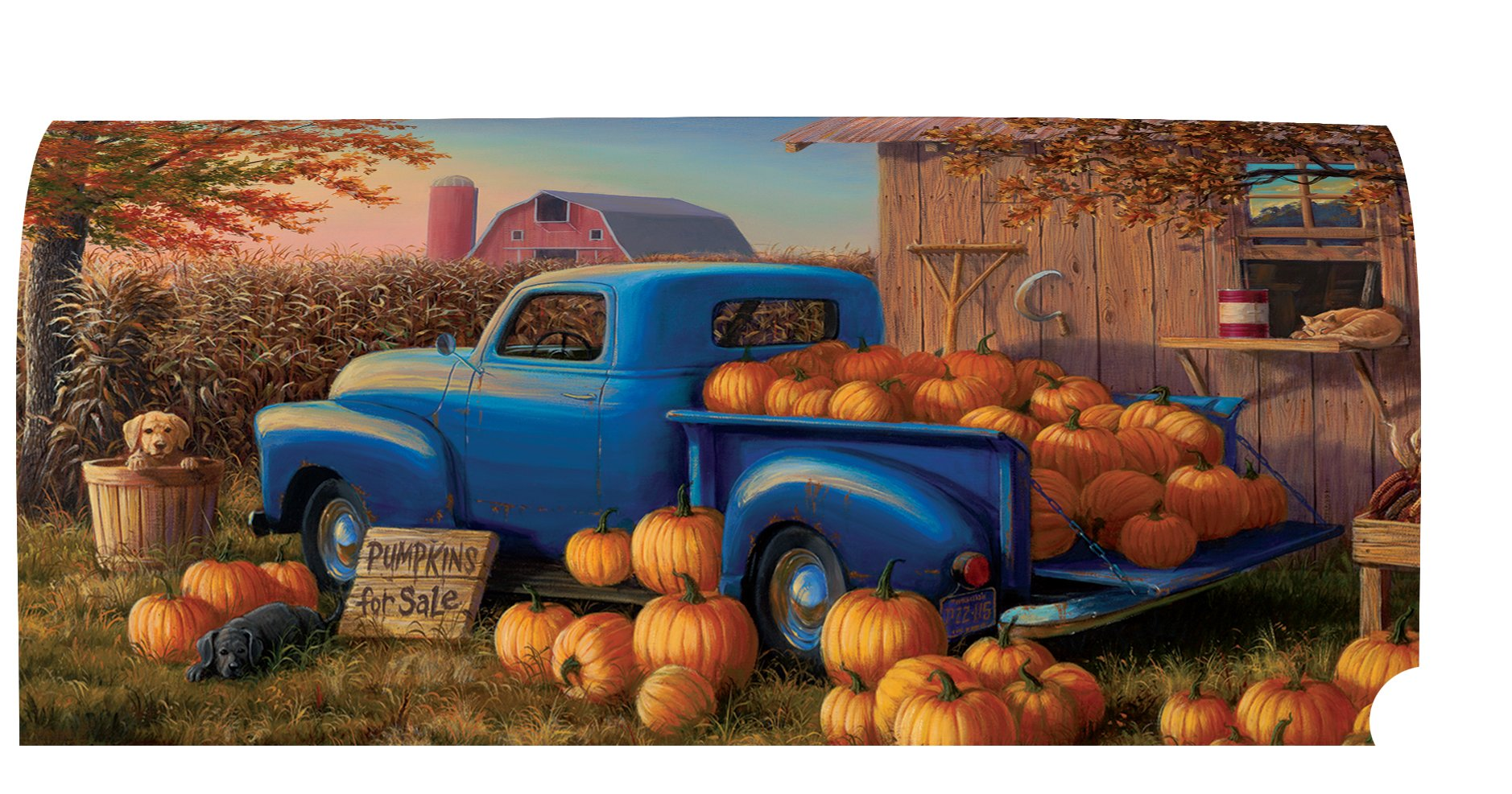 Pumpkin Truck - Mailbox Makeover - Vinyl with Magnetic Strips - Licensed, Copyrighted and Made in the USA by Custom Decor Inc.