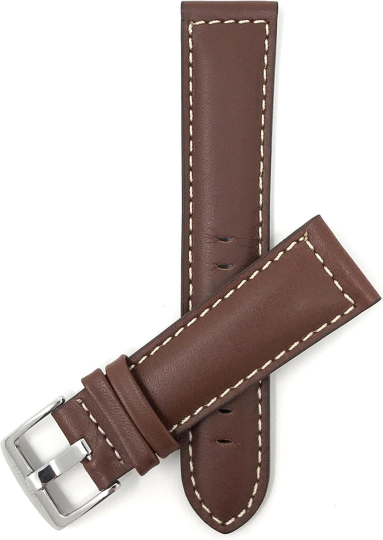 18mm - 30mm (Disponibile en Extra largo), Correa reloj de cuero auténtico, con costuras, hebilla de acero inoxidable, disponible en negro, clair et marrón rojizo y marrón