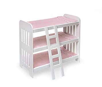 Badger Basket Triple Doll Bunk Bed With Ladder And Pink Gingham Mats (fits  American Girl
