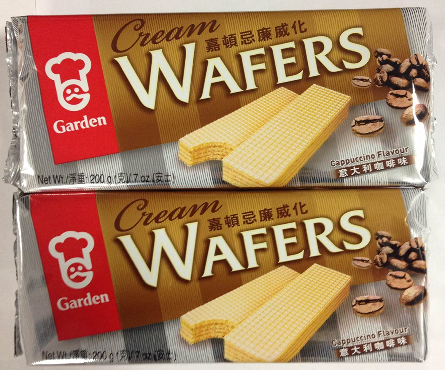 Garden Cream Wafers Cappuccino Flavor - 7 Oz (Pack of 2)