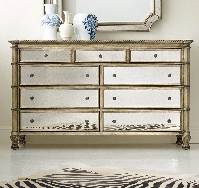 Amazon.com: Hooker Furniture Melange 9 Drawer Montage Mirrored Dresser:  Kitchen U0026 Dining