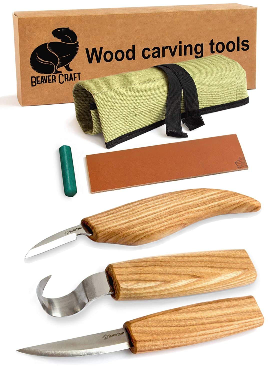 BeaverCraft S13 Wood Carving Tools Set for Spoon Carving 3 Knives in Tools  Roll Leather Strop and Polishing Compound Hook Sloyd Detail Knife