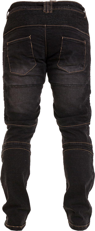 Qaswa Hombre Moto Jeans Ciclista Reforzado Protecci/ón Pantalones Lining Incluyen Armaduras Denim Motorcycle Pants
