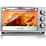 Toaster Oven Broiler 6-Slice Bread 12-Inch Pizza, Compact Countertop Oven Variable Temperature Control with Bake Pan, Tray Handle, Broil and Toasting Rack, 1500W, Black&Silver, by Aicook