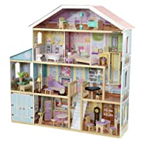 KidKraft KidKraft Grand View Mansion Wooden Dollhouse with EZ Kraft Assembly, Elevator, Garage, Attic Nursery and 34 Accessories ,Gift for Ages 3+