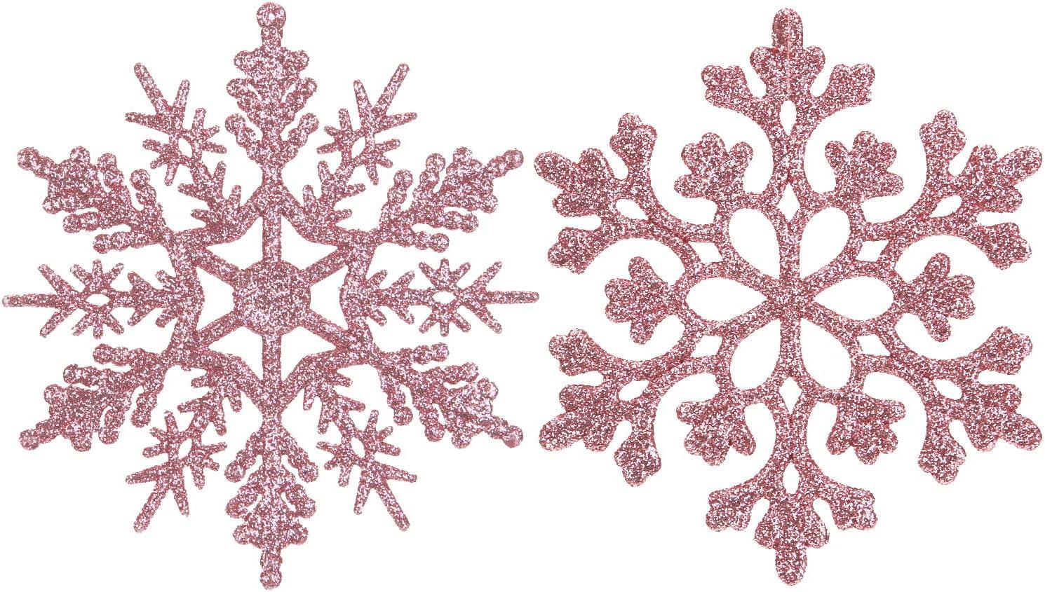 Sea Team Plastic Christmas Glitter Snowflake Ornaments Christmas Tree Decorations, 4-inch, Set of 36, Pink