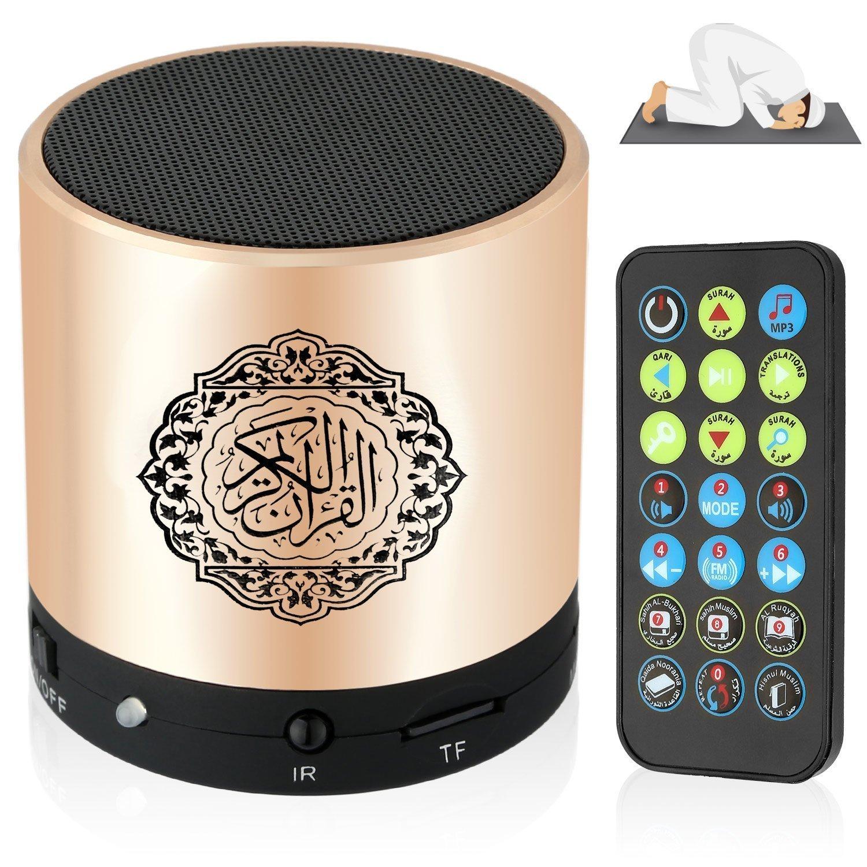 SQ200 Remote Control Speaker Portable Quran Speaker MP3 Player 8GB TF FM Quran Koran Translator USB Rechargeable Speaker-Glod by WEI