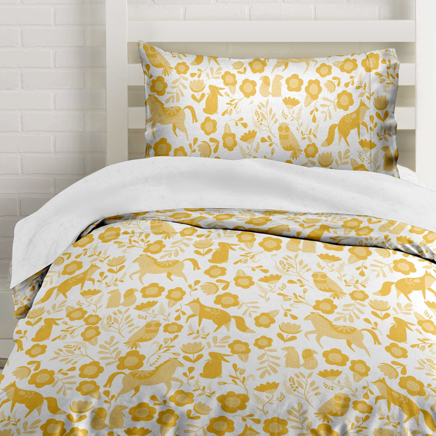 Marigold Yellow Folktale Forest Animals Duvet Cover Twin Size