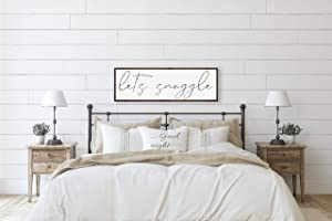 DKISEE Let's Snuggle Sign, Bedroom Decor, Sign for Above Bed, Master Bedroom Wall Decor, Wood Framed Sign, Sign for Bedroom, Bedroom Wall Art 5.9x20 inches