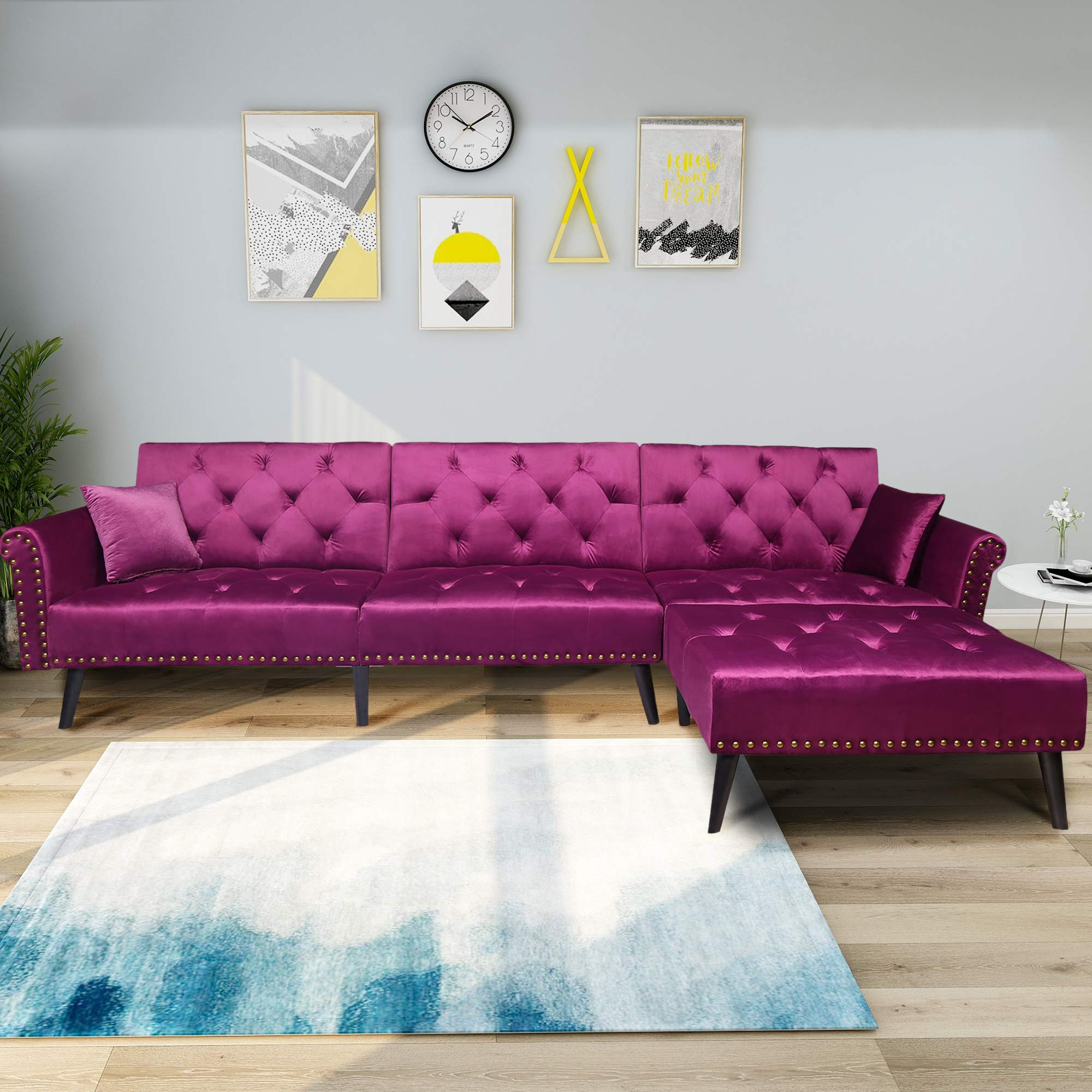 YSKWA Modern Large Velvet Fabric Sectional Sofa Reversible Chaise Lounge L-Shaped Corner Couch Sofa Bed Set for Living Room, with 2 Pillows by YSKWA