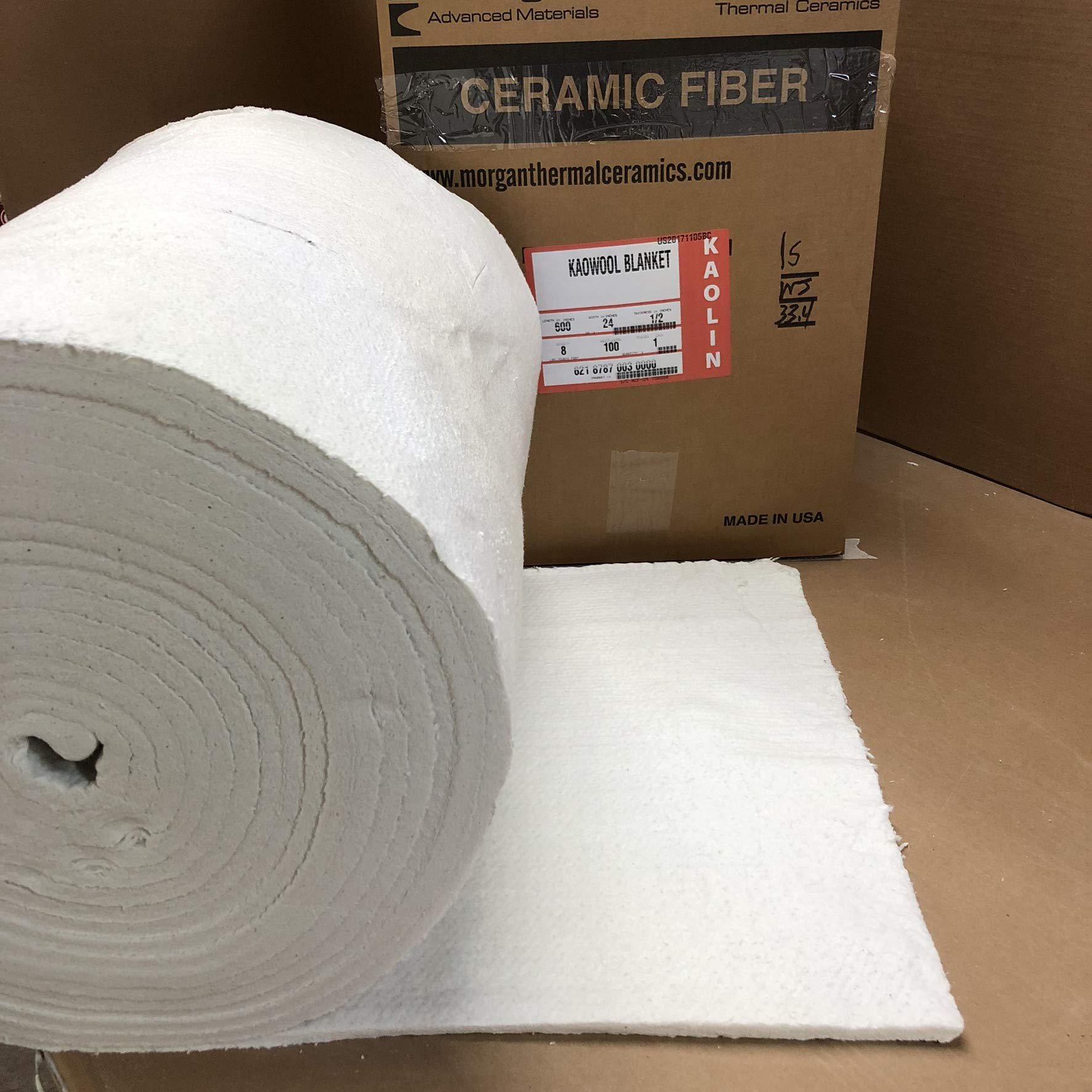 Lynn Manufacturing 1/2'' Thick, Kaowool Plus Blanket, Morgan Thermal Ceramics, 2100F Rated, 8 Lb. Density, 24'' Wide, 50 Ft. Long by Lynn Manufacturing