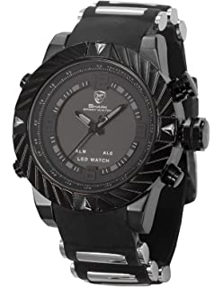 Goblin Shark Mens Digital Date Day Alarm LED Black Rubber Sport Quartz Wrist Watch SH165