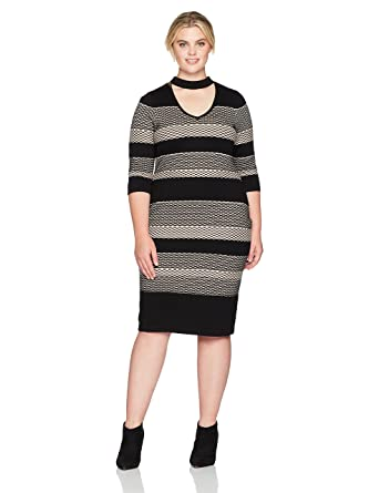 Gabby Skye Women\'s Plus Size High Neck Striped Sweater Dress at ...
