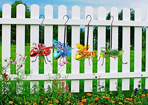GIFTME 5 Metal Garden Yard Art Hanging Decoration Set of 4 Include Yellow Bee Blue Butterflies Red Ladybug and Green Mantis Perfect The Tree