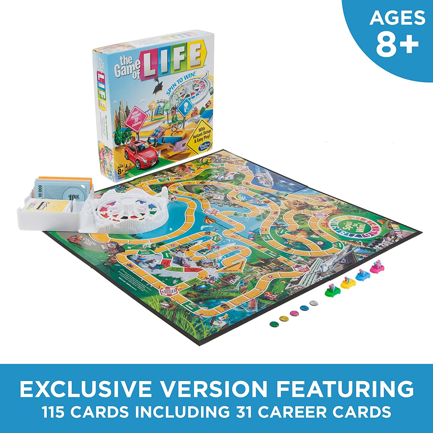 Hasbro Gaming The Game Of Life Board Game Ages 8 Up Amazon Exclusive