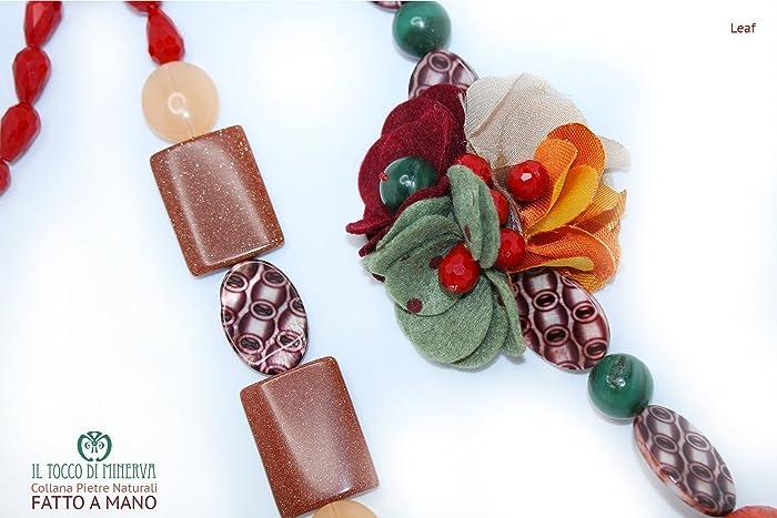 Regali Innovativi Di Natale.Collana Pietre Naturali Leaf Fatto A Mano Made In Italy