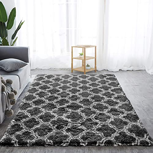Softlife Fluffy Bedroom Rugs 5 x 8 Feet Shaggy Geometric Design Area Rug