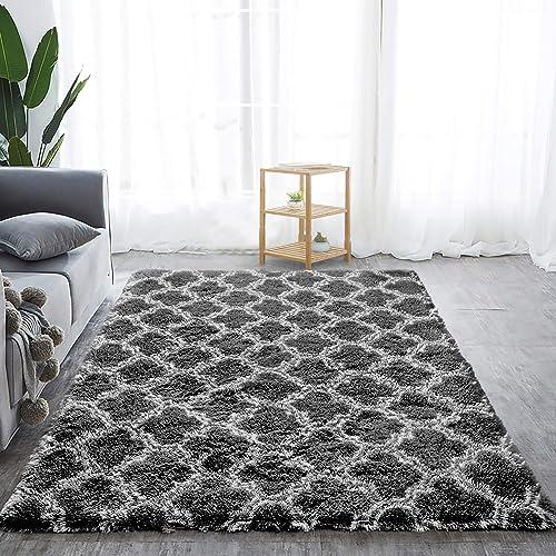 Softlife Fluffy Bedroom Rugs 5 x 8 Feet Shaggy Geometric Design Area Rug