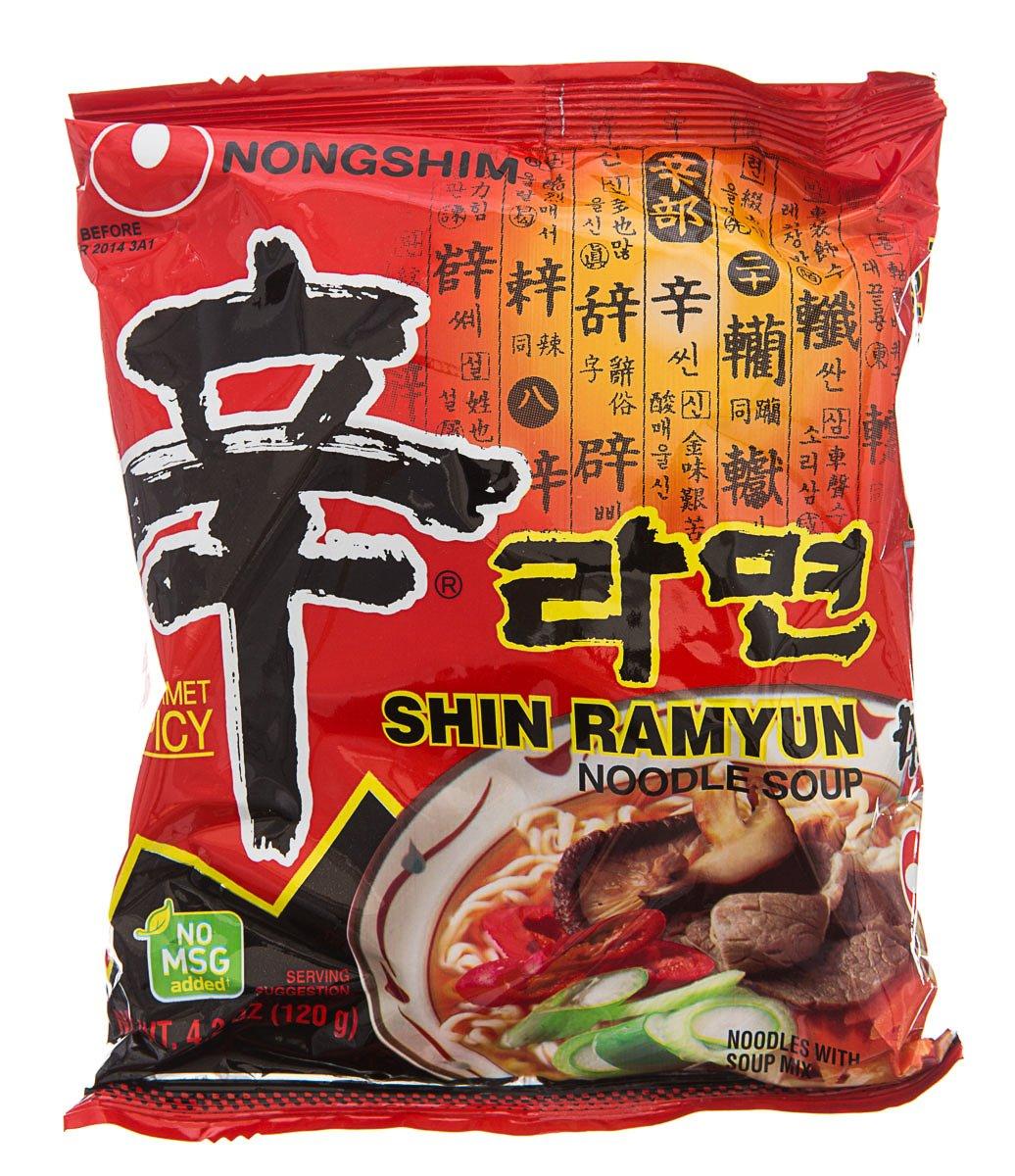 Nong Shim Shin Ramyun Noodle Soup, Gourmet Spicy Flavor, 4.23-Ounce (Pack of 10) by Nong Shim
