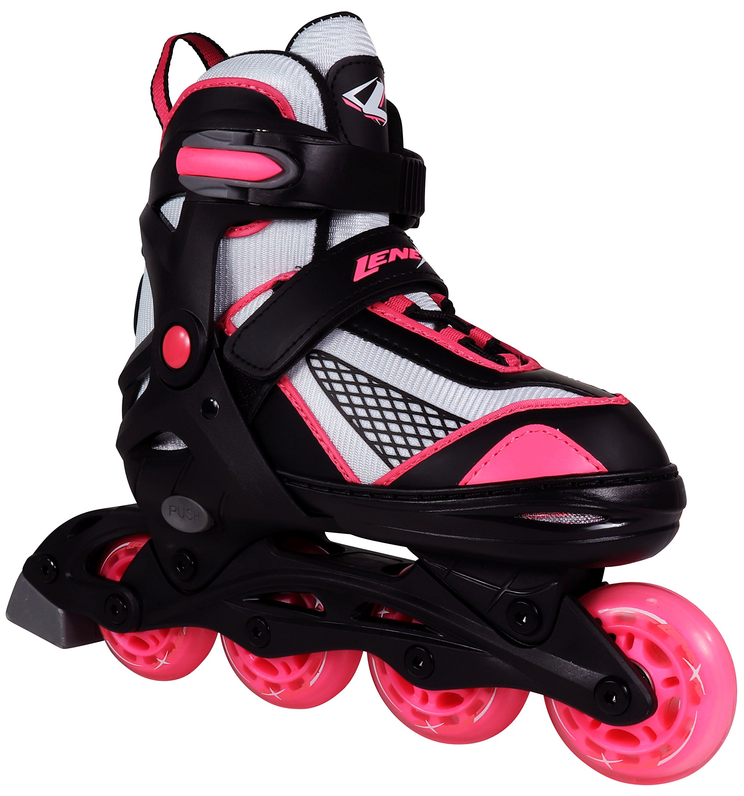 Lenexa Inline Skates for Girls with Adjustable Sizing Venus Kids in-line roller skate blades | Comfortable fit | Safety non-slip wheels | Made for Fun (Black/Pink, Small)