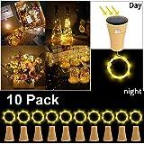 10 Pack Solar LED Luces de Botella de Vino, ALED LIGHT Solar Light 1 Metro 10 Luces de Corcho en Forma de Luz de Alambre de Cobre Luces Jardin Exterior Decorativas Luces para Botellas DIY/Boda/Navidad