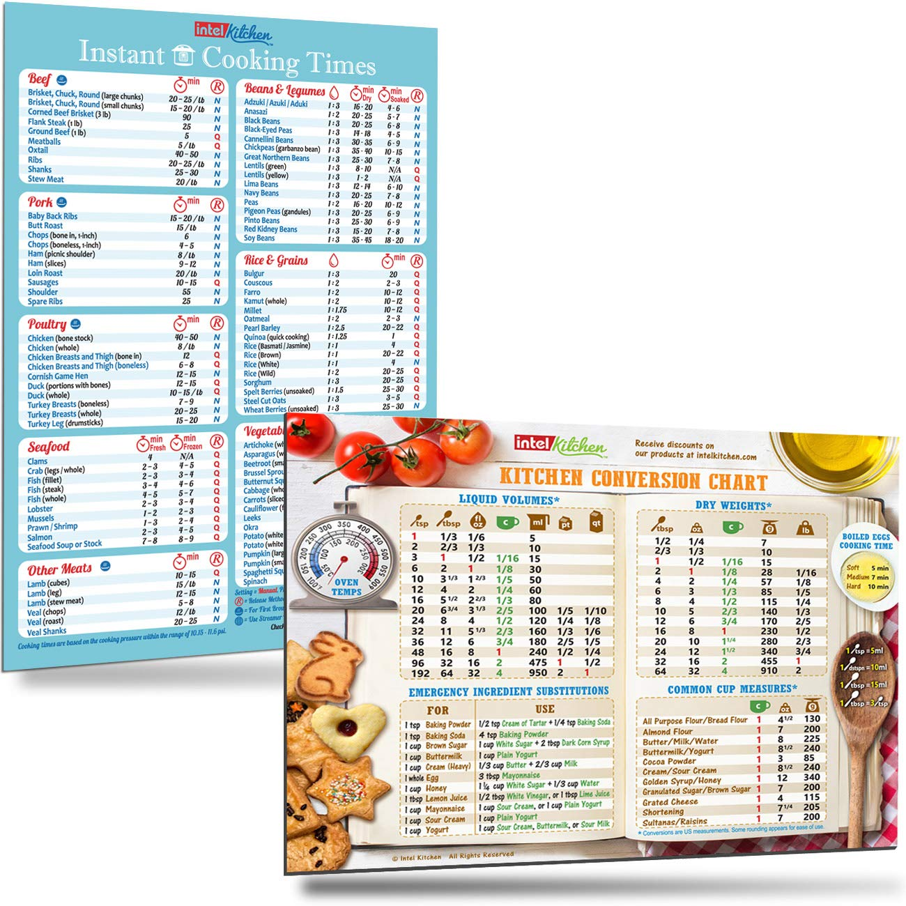 "Cooking Times (100+ Foods) for Instant Pot + Cool Kitchen Conversion Chart Magnets 8""x11"" Bigger Magnet Bigger Text Easy To Read Recipes Cookbook Cheat Sheet Great Gift for Family Birthday Holidays"