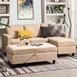 Amazon Com Homelegance Clumber 82 Reversible Sectional With Accent Pillows Beige Furniture Decor