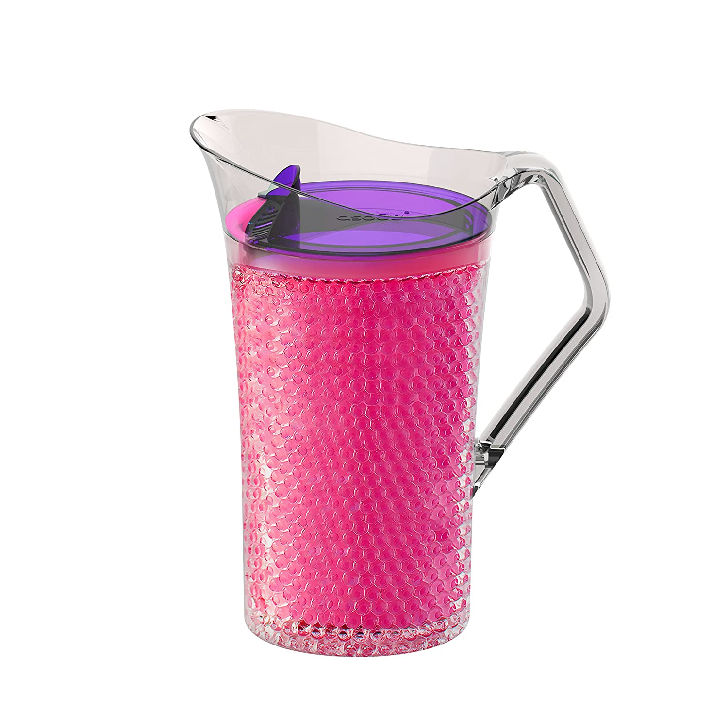 Asobu Iceberg Pitcher with Freezable Double Walls for Water Beer or Tea Bpa Free 50 Ounce (Pink)