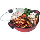 Shabu Shabu Hot Pot with Divider, real power Dual Sided Soup Cookware Two-Flavor Mandarin Duck Pot Non-Stick Pot with Glass L