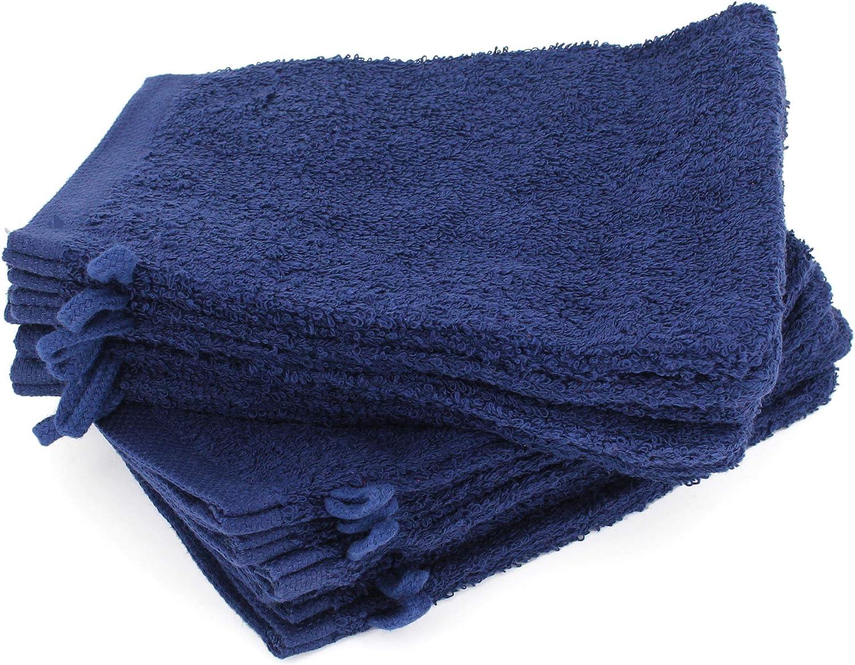 Lot de 12 Gants de Toilette 16x21 cm Alpha Bleu Marine