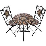 Hochwertiges aufwendig gearbeitetes Mosaik Tisch Set NA1514-B041+42 stabiles Gartenmöbel Set, Balkonset, Bistroset, Schweres beschichtetes Metall, Wetterfest, Tisch und 2 Stühle