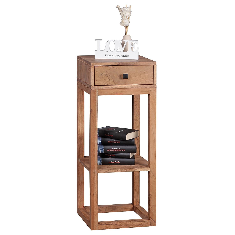FineBuy Massiver Beistelltisch PATAN Akazie Holz Massiv 90 x 35 x 35 cm   Telefontisch mit Schublade für Flur Anrichte   Moderne Konsole mit Ablage