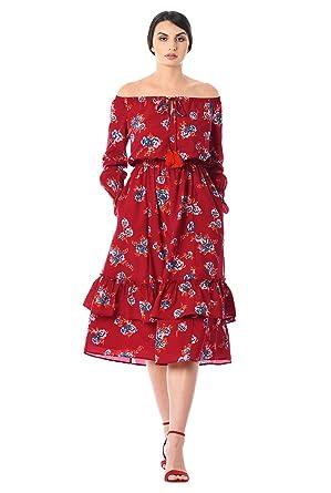 2f356dbdd249 eShakti Women s Off-the-shoulder floral print crepe dress UK Size 30W   Tall
