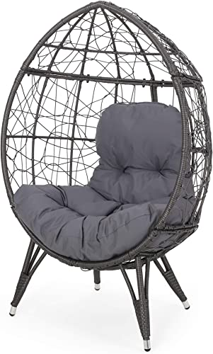 Cara Indoor Wicker Teardrop Chair with Cushion, Gray and Dark Gray