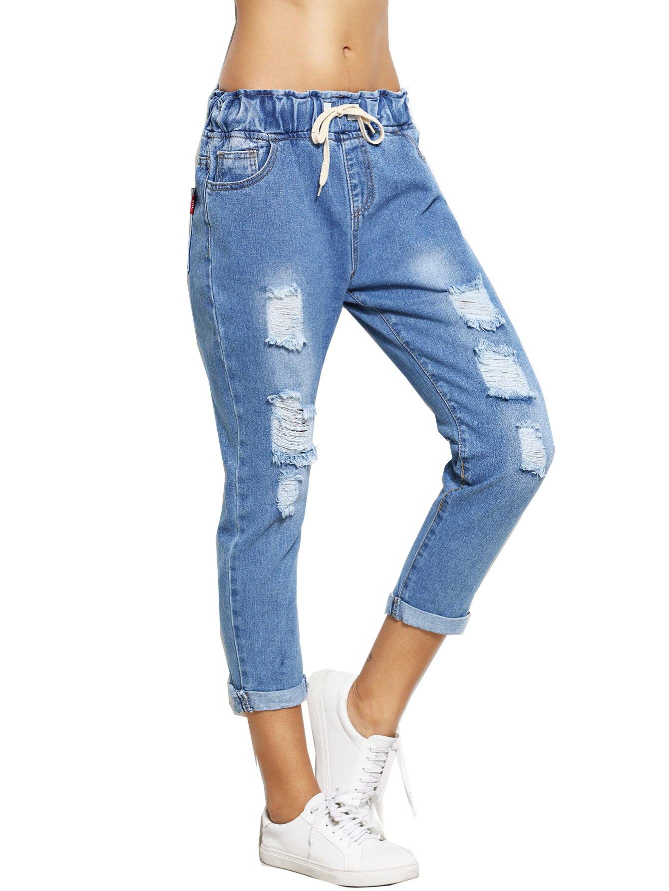 SweatyRocks Women's Juniors Distressed Ripped Drawstring High Waist Capris Crop Jeans (X-Large, Blue#3)