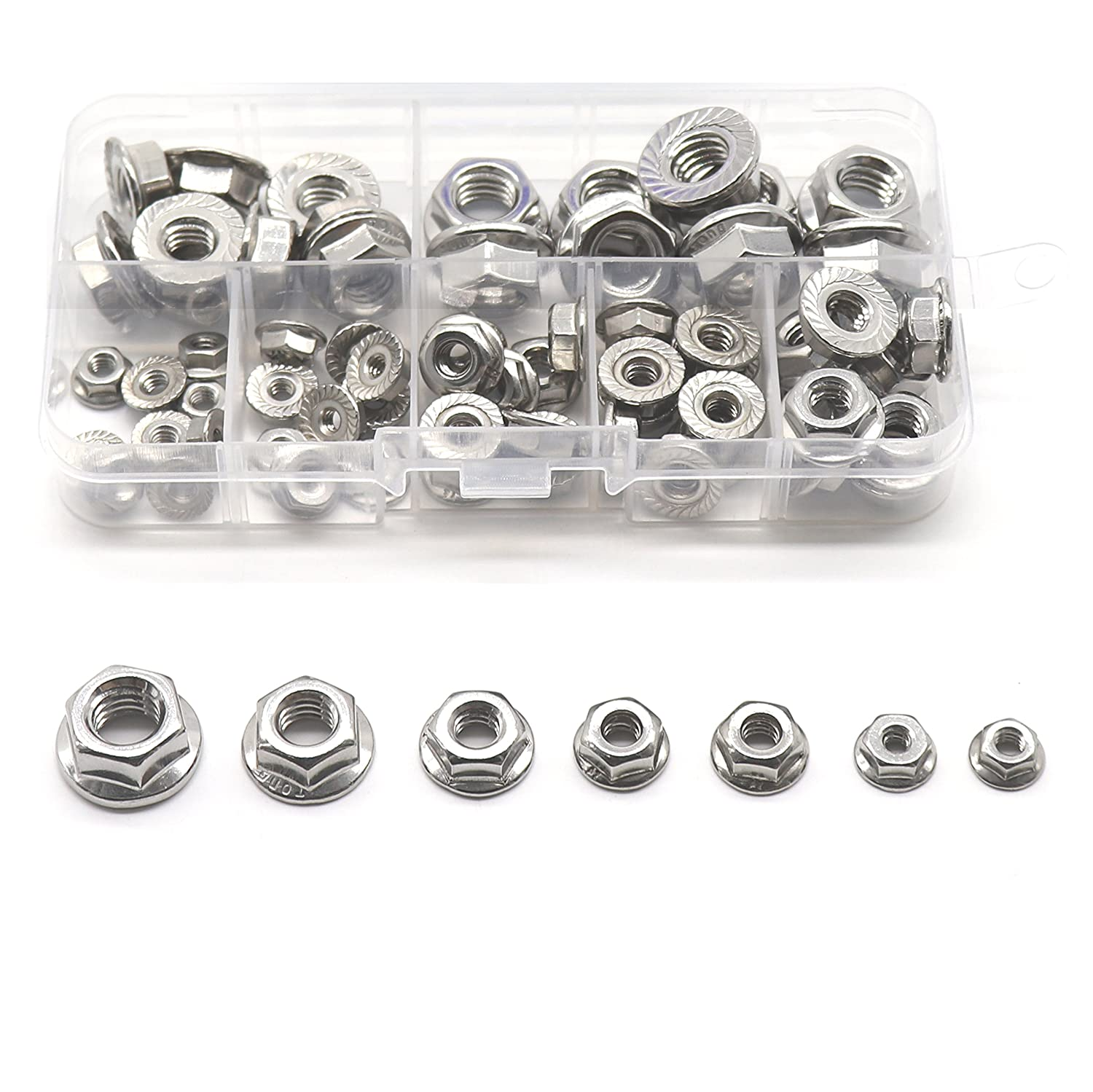 binifiMux 70Pcs Hexagon Flange Nuts Assortment Kit 7 Sizes 304 Stainless Steel #6#8#10 3 16 1 4 5 16 3 8